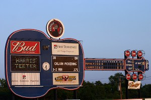 guitar scoreboard at the nashville sounds greer stadium