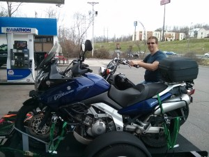 "John ""riding"" at a gas station in Cookeville."