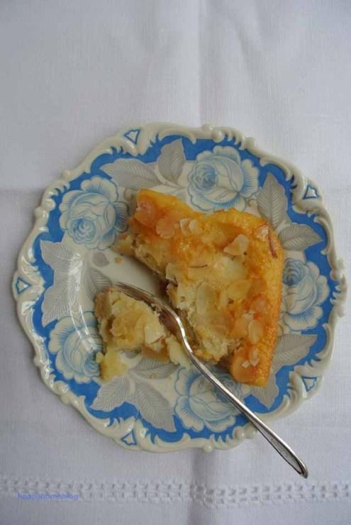 Rhabarber Apfel Blechkuchen auf Vintage Rosenporzellan von happyhomeblog