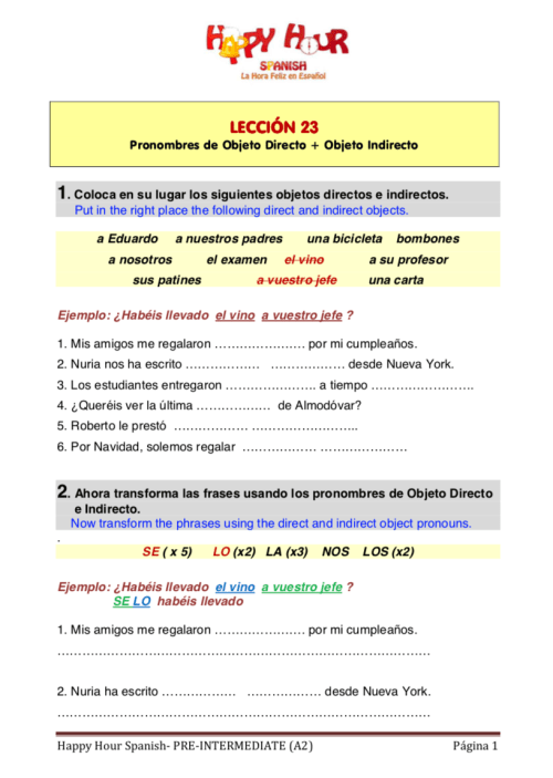 small resolution of 30 Direct Object Pronouns Spanish Worksheet With Answers - Worksheet  Resource Plans