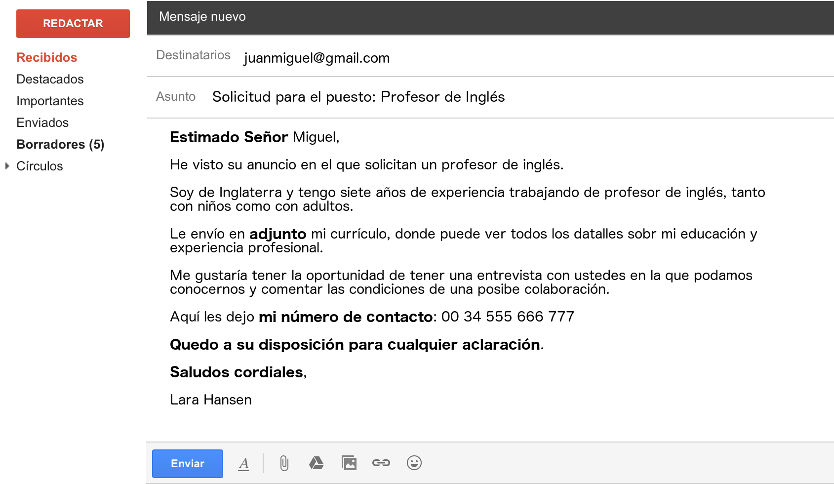hight resolution of formal email in spanish example 1