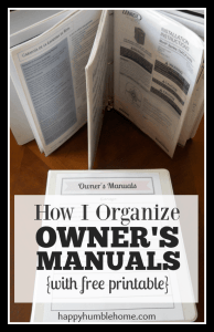 How I Organize Owner's Manuals {with free printable}