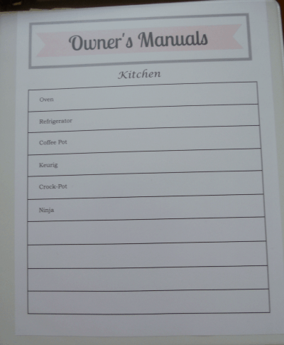How to Organize your Owner's Manual with free printable!