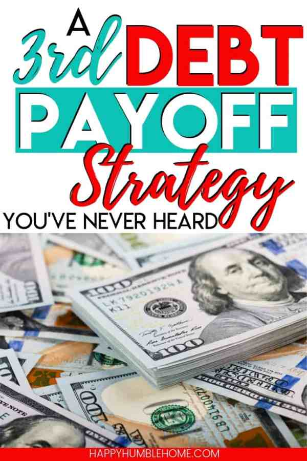 A Third Debt Payoff Strategy you've never heard before - Learn how to pay off debt effectively without using the debt snowball or the debt avalanche. This can work for credit card debt, student loans, or any other type of debt. If your drowning in debt it's time to start paying it off and get out of debt for good. No Spreadsheets required! Free Worksheet Included!