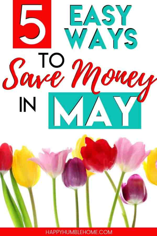 5 Easy Ways to Save Money in May - These 5 simple ideas for saving money this spring will help you stick to your budget, pay off debt, and reach your financial goals. And of course they will lower your monthly budget for May! Check out these hacks now and get to work saving money!