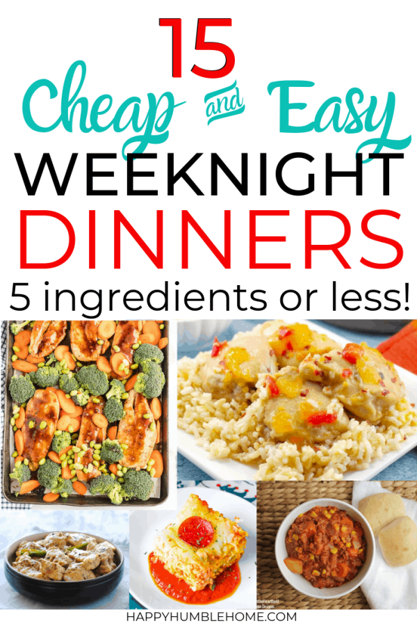 Easy Frugal Weeknight dinners with 5 ingredients or less