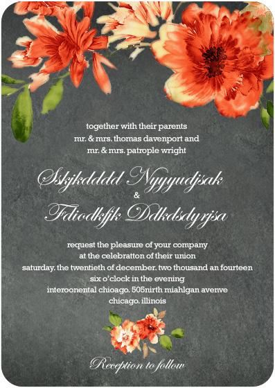 Orange African Daisy Wedding Invitation Cards Hpi022