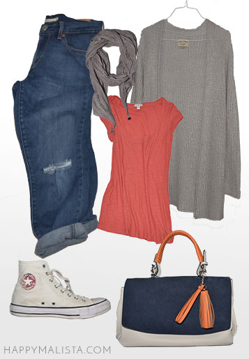 spring wardrobe capsule. chucks and distressed jeans outfit with over sized cardigan