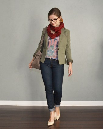 jeans graphic tee and blazer outfit