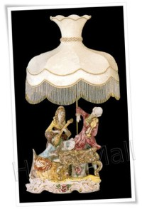 Italian Capodimonte Lamps with Ex-Large Shades