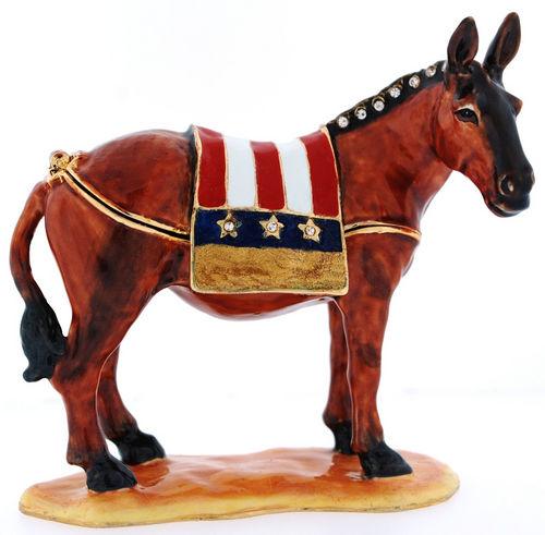 US Democratic Donkey  Enamel Jeweled Trinket Box