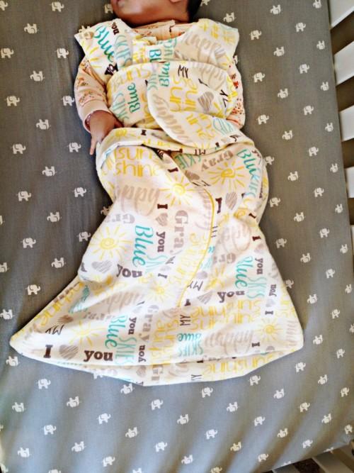diy sleep sack finished with baby