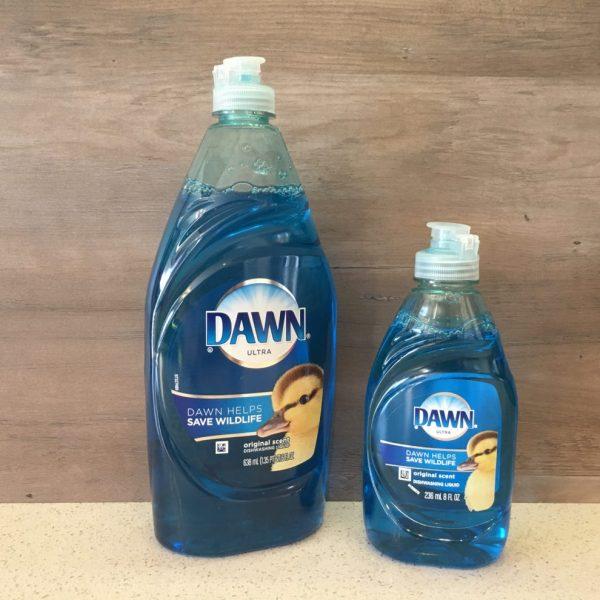 Size comparison for dawn dishsoap