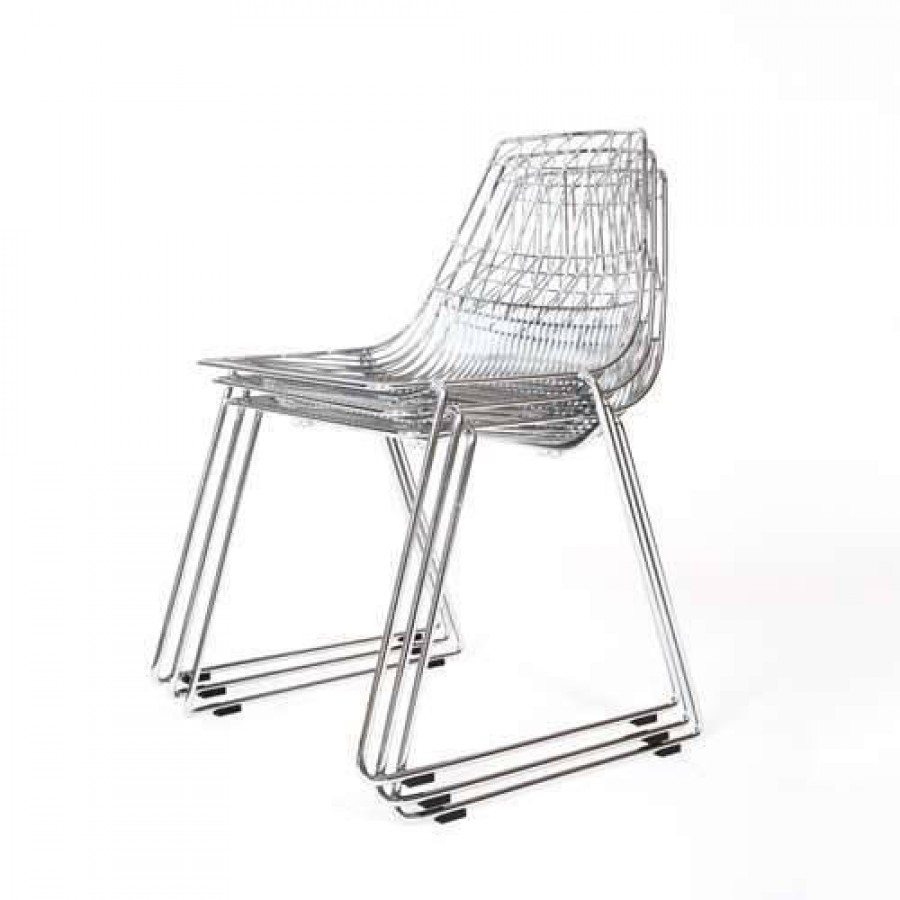 Wire Chair Chrome Stackable Cafe Electroplated Wire Dining