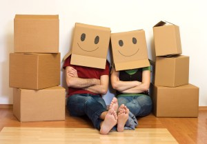 people with boxes on their head