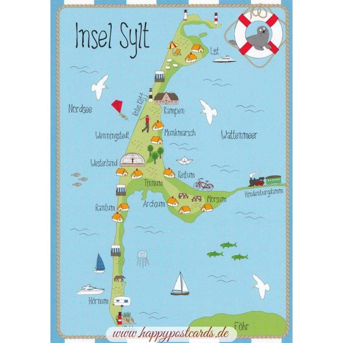 VIEWCARDS Maps Island Sylt Map Hartung