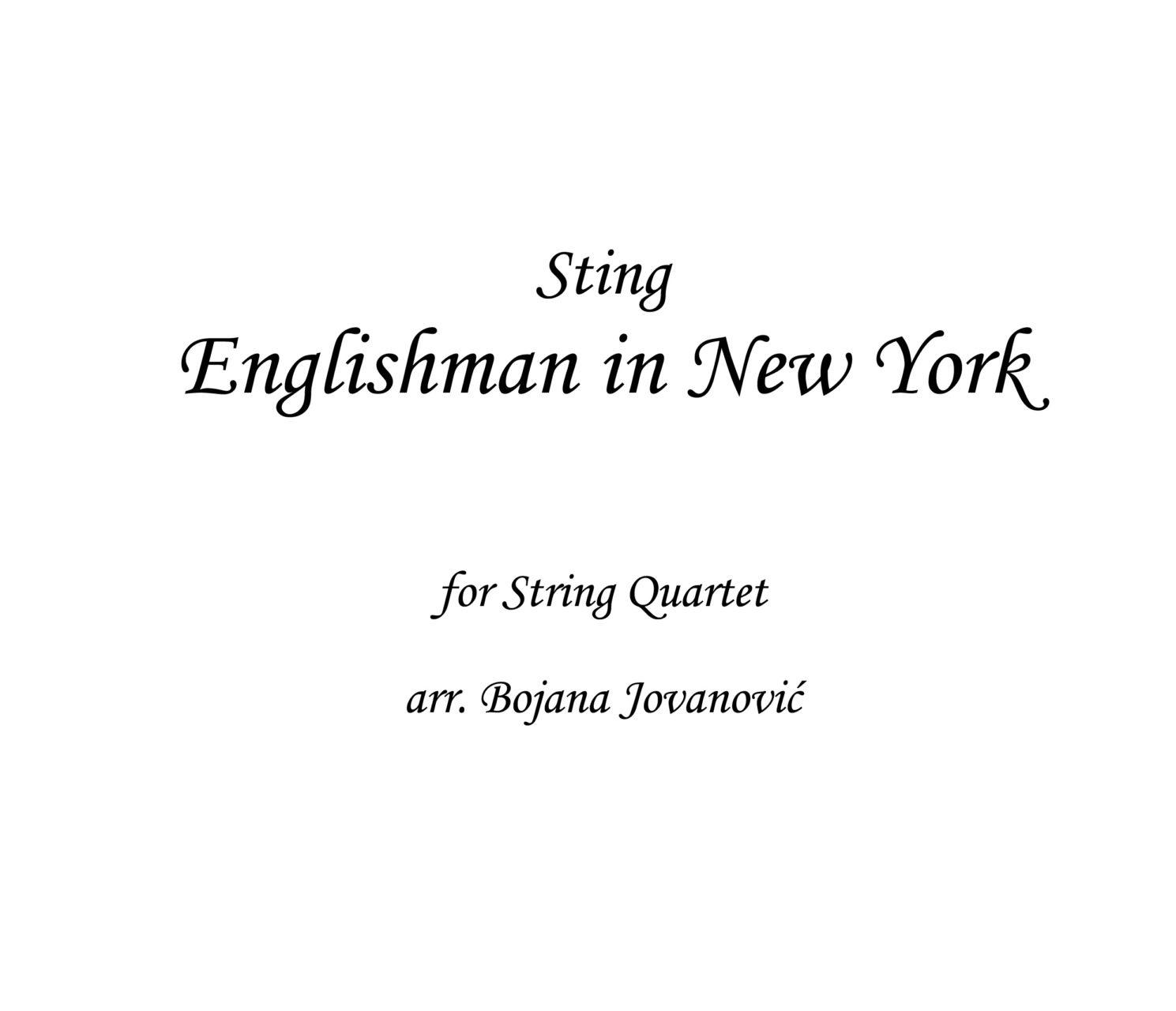 Englishman In New York Sting Sheet Music