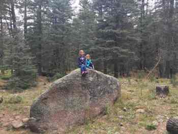 Taking a rest from the hike on a big rock.