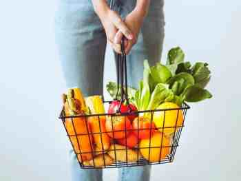 Grocery Basket with Fruits and Veggies