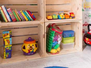 Toy storage shelves to eliminate toy clutter