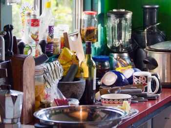 Cluttered Kitchen Counteres