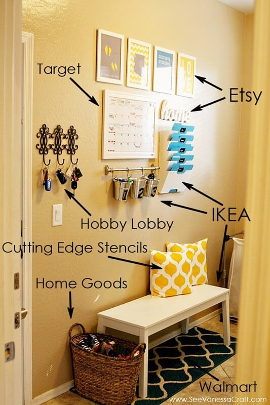 Family command center by See Vanessa Craft using items from Ikea, Hobby Lobby, Walmart and Home Goods.