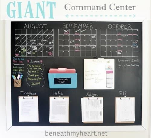 Chalkboard family command center