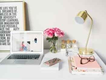feminine office set up