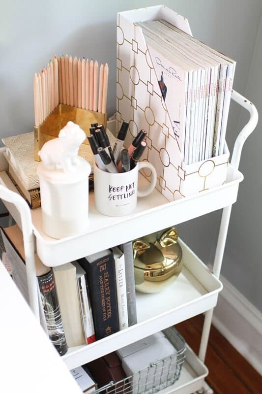 Put a rolling cart in your small office space.