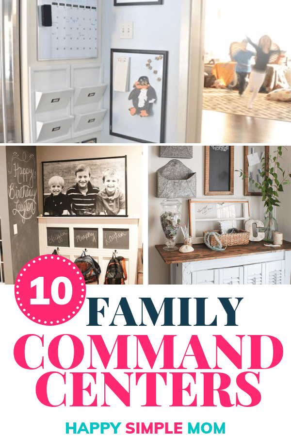 A collage fo family command center ideas