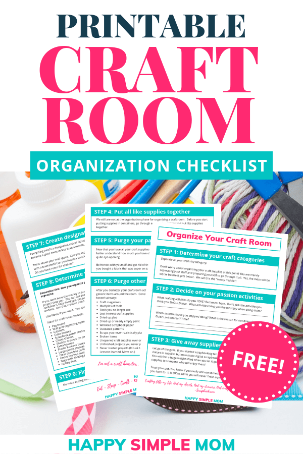 Organize your craft room with this free craft room organization checklist. Free printable.