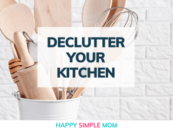 Declutter your kitchen. Kitchen utensils with title of page.