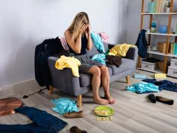 Overwhelmed mom by mess