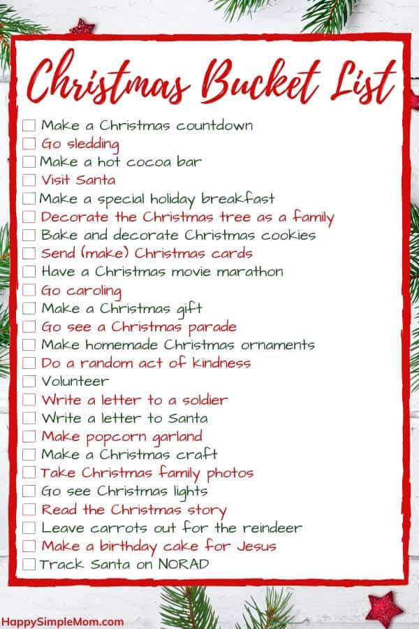 Christmas traditions bucket list