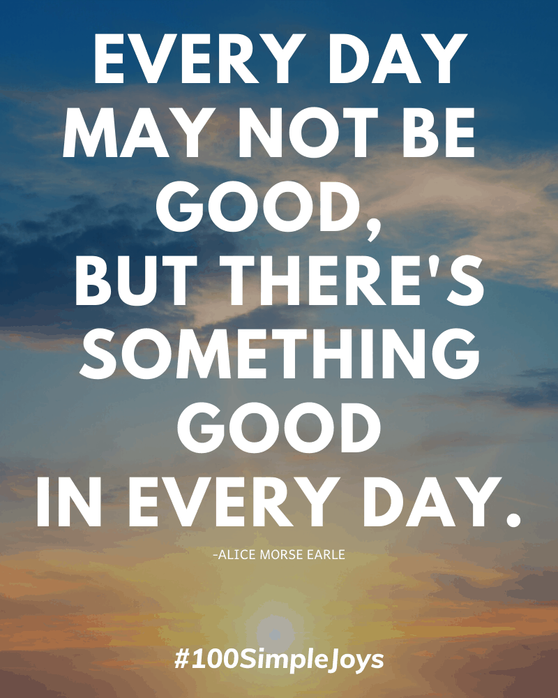 #100SimpleJoys Every day may not be good, but there's something good in every day.