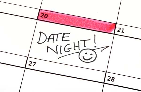 Calendar showing a scheduled date night at home.