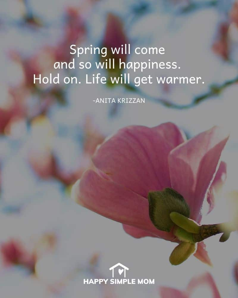 Spring will come and so will happiness. Hold on. Life will get warmer. Anita Krizzan