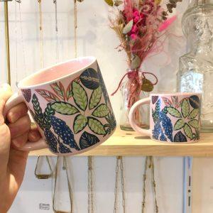 Mug feuillage rose feuille verte Happy Sisyphe Boutique Lyon