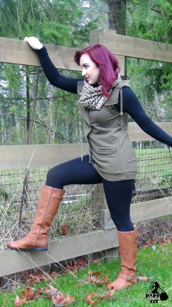Vest and Boots 4 Ways Happy Stylish Fit Lifestyle Blog Long Green Vest with Brown Boots