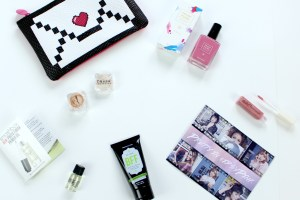 February Ipsy Glam Bag Review of Trust Fund Beauty nail polish, Perfectly Posh BFF face wash, Naked Cosmetics mica pigment, Smashbox Cosmetics primer oil, and Vintage lipgloss.