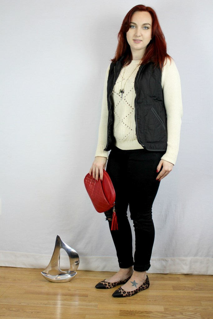 Trendy Tuesday: Casual Outfit for Work - Dress up a cream sweater and distressed jeans with a red purse and leopard flats, add a black vest for warmth.