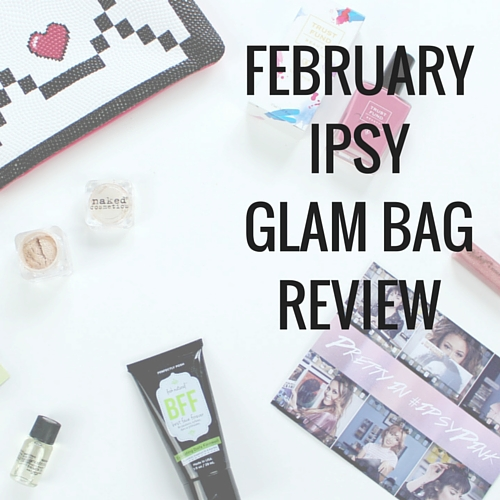 February Ipsy Glam Bag review: Smashbox primer, posh face cleanser, naked cosmetics eye shadow, Trust Fund Beauty vegan nail polish, and vintage lip gloss.