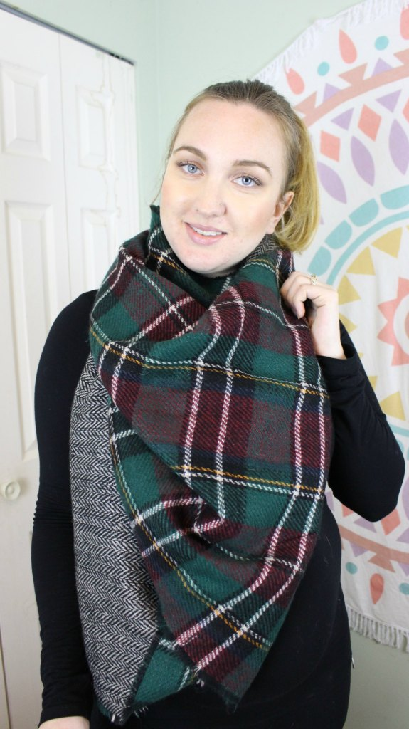 Watch the video tutorial: How to tie a blanket scarf 10 ways.