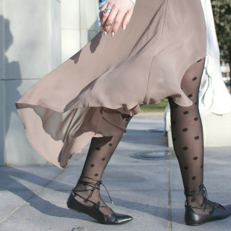 Shop Polka Dot Tights and Flowy Skirt - Happy Stylish Fit - Shop Instagram