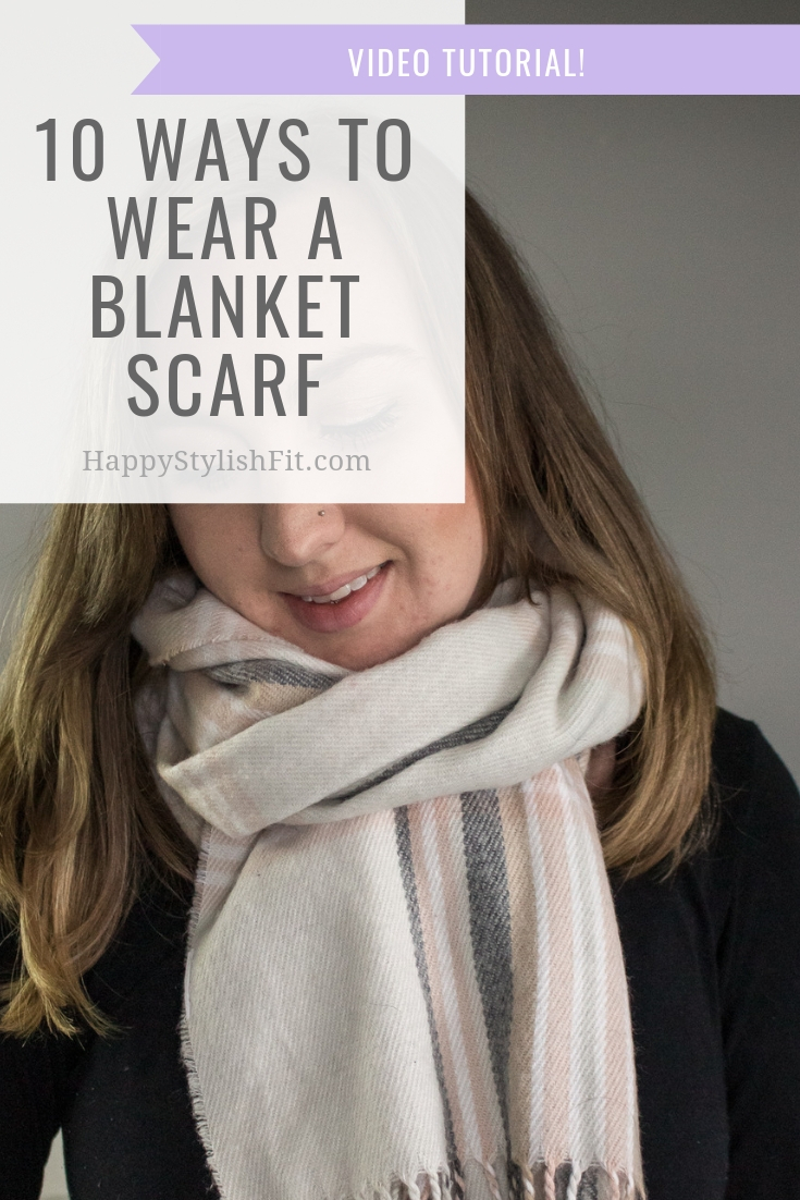How to wear a blanket scarf 10 ways including this wrap and tie. With video tutorial. #BlanketScarf #FallFashion #WinterFashion #MomFashion
