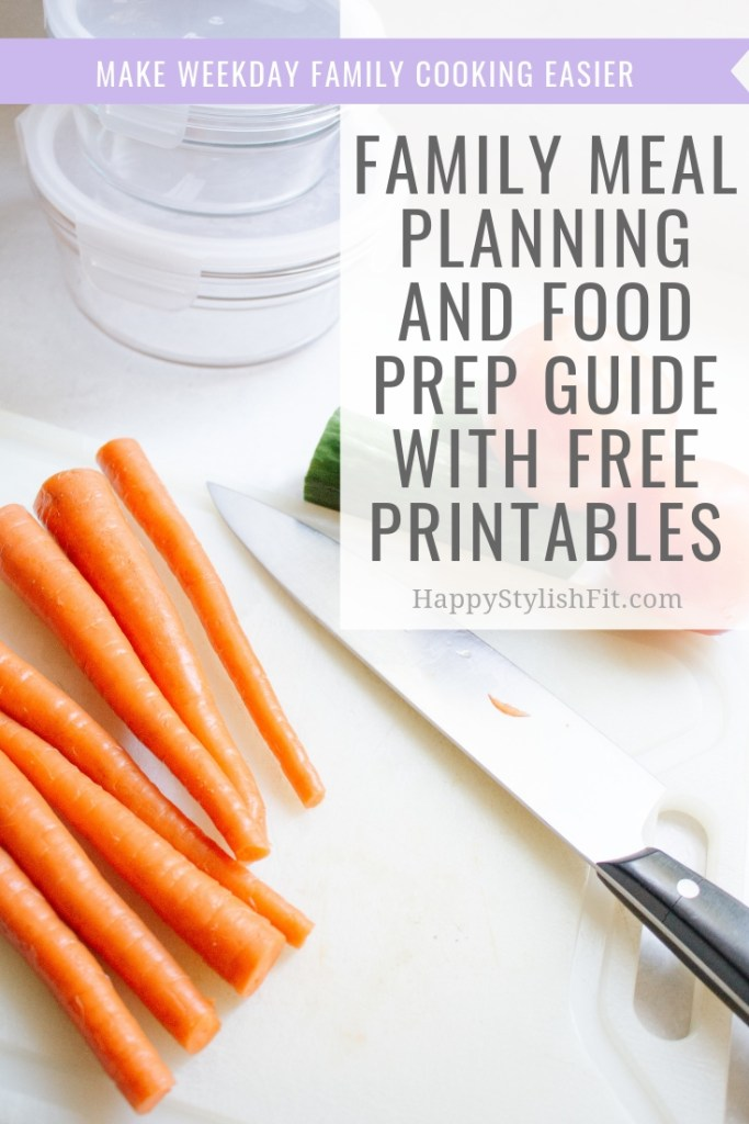 Meal planning and food prep guide with free printables to help your family weeknight meals quicker and easier.