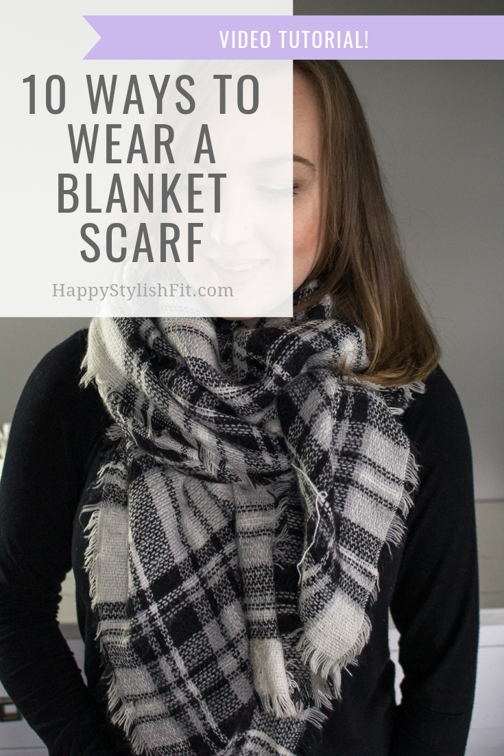 How to wear a blanket scarf 10 ways including this front triangle tie. With video tutorial. #BlanketScarf #FallFashion #WinterFashion #MomFashion