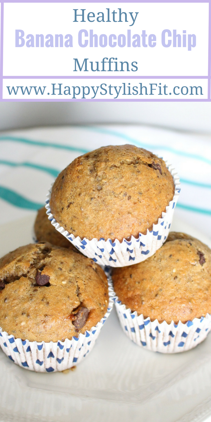 Healthy banana chocolate chip muffin recipe that is sure to please the whole household.