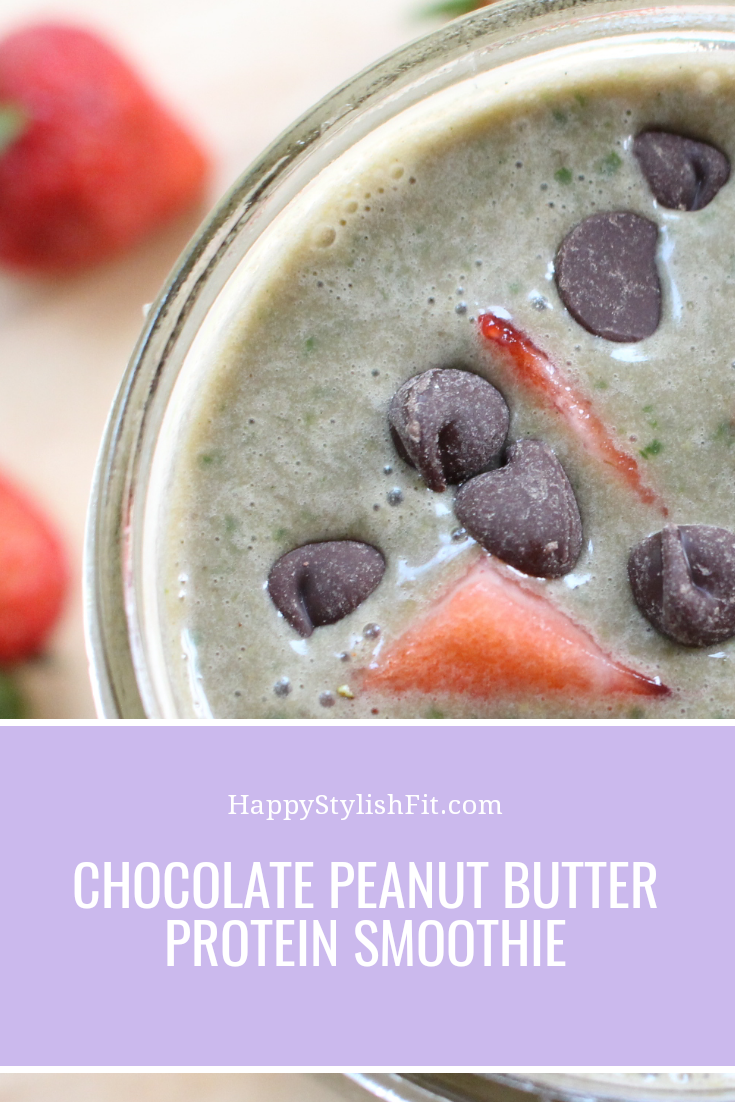 Chocolate Peanut Butter Banana Smoothie filled with spinach and pineapple too!