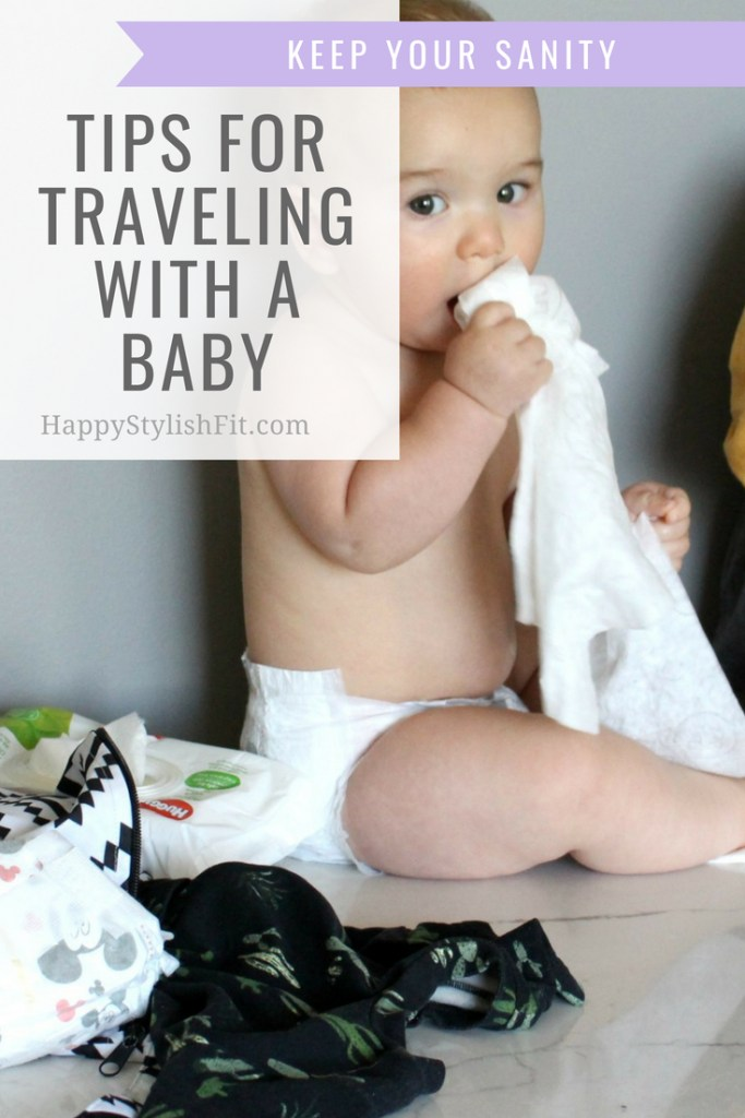 Tips for travelling with a baby. Including tips for travelling on airplanes, on road trips, tips for keeping your sanity, and what to pack for your baby.